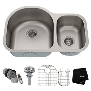 KRAUS 30 Inch Undermount 60/40 Double Bowl 16 Gauge Stainless Steel Kitchen Sink with NoiseDefend Soundproofing