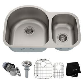 KRAUS 30 Inch Undermount 60/40 Double Bowl 16 Gauge Stainless Steel Kitchen Sink with NoiseDefend Soundproofing|https://ak1.ostkcdn.com/images/products/5176323/P13013542.jpg?impolicy=medium