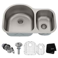 Kraus KBU21 Premier Undermount 30-in 16G 60/40 2-Bowl Satin Stainless Steel Kitchen Sink, Grids, Strainers, Towel