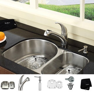 KRAUS 30 Inch Undermount Double Bowl Stainless Steel Kitchen Sink with Pull Out Kitchen Faucet and Soap Dispenser