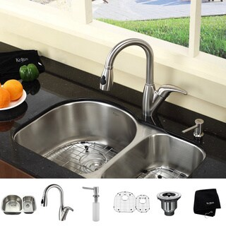Kraus Kitchen Combo Set Stainless Steel 30-inch Undermount Sink with Faucet