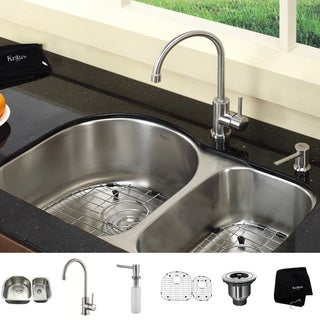 KRAUS 30 Inch Undermount Double Bowl Stainless Steel Kitchen Sink with Kitchen Bar Faucet and Soap Dispenser in Stainless Steel