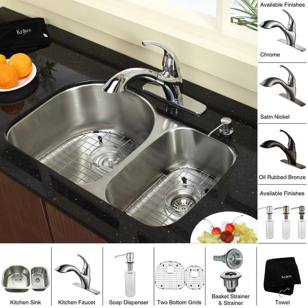 Kraus Kitchen Combo Set Stainless Steel Undermount Double Sink Faucet