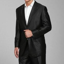 Ferrecci Mens Slim Fit Shiny Black Sharkskin Suit - Free Shipping