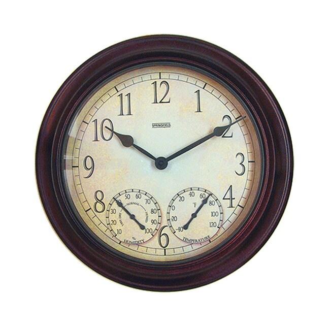 Taylor Springfield 14-inch Metal Garden Clock, Brown