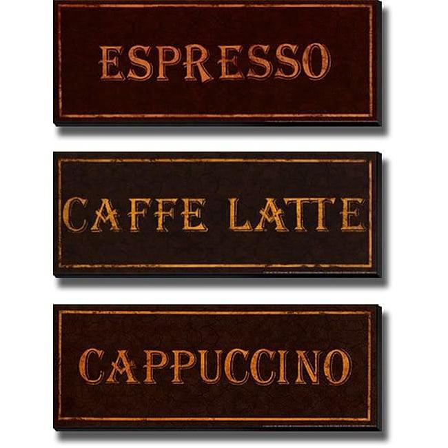 Catherine Jones 'Coffees' 3-piece Unframed Canvas Set