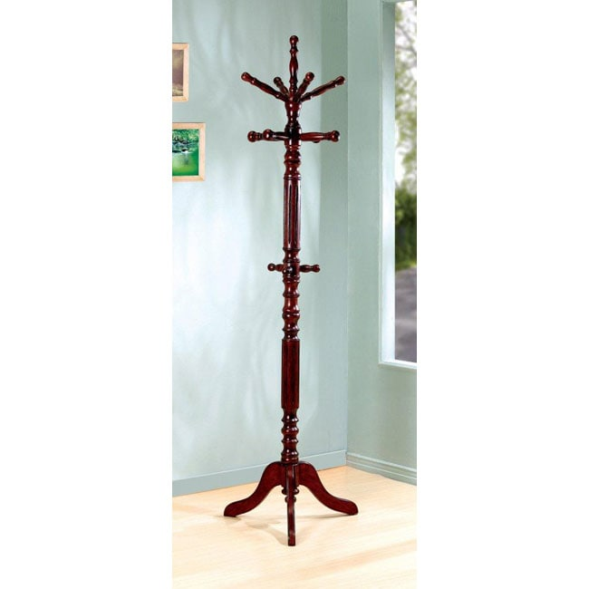 Traditional Walnut Finish Spinning Top Wood Coat Rack