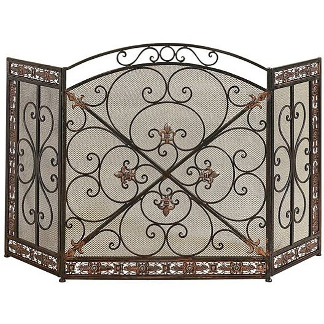 Antique Rustic Metal/ Mesh Fireplace Screen