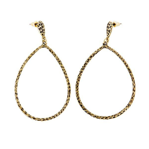 NEXTE Jewelry 14k Gold Overlay Lacquered Hammered Teardrop Earrings