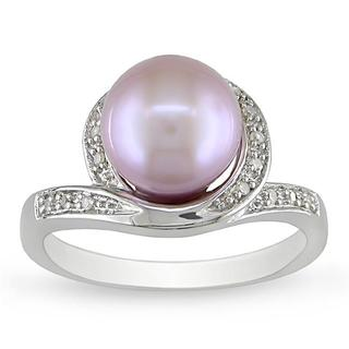 Miadora Sterling Silver Lilac Freshwater Pearl and Diamond Ring (9-9.5 mm)