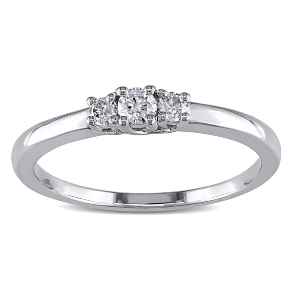 Miadora Sterling Silver 1/5ct TDW 3-Stone Diamond Ring