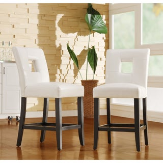 Mendoza Keyhole Counter Height High Back Stool (Set of 2) by iNSPIRE Q Bold (Option: White Faux Leather)