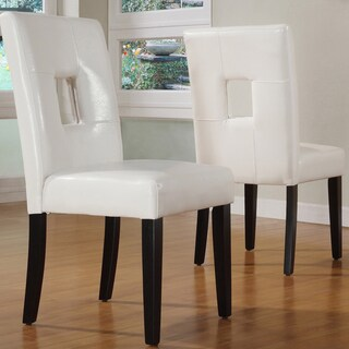 Mendoza Keyhole Back Dining Chairs (Set of 2) by iNSPIRE Q Bold (Option: White Faux Leather)