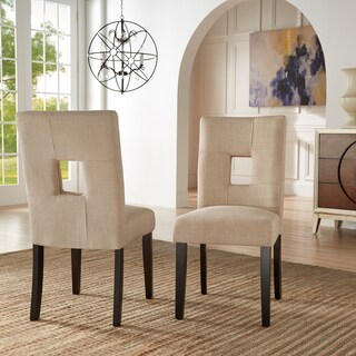 Mendoza Keyhole Back Dining Chairs (Set of 2) by iNSPIRE Q Bold (Option: Beige Linen)