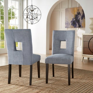 Mendoza Keyhole Back Dining Chairs (Set of 2) by iNSPIRE Q Bold (Option: Blue Linen)