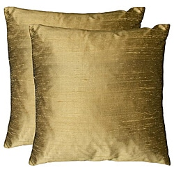 Duponi Silk Feather Filled Square Decorative Pillows (Set Of 2)