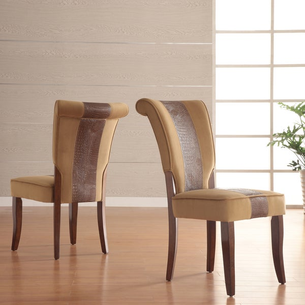 INSPIRE Q Andorra Velvet and Faux Alligator Leather Dining Chair (Set of 2)