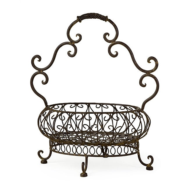 Delightful Shop Provence Open Metal Basket   Free Shipping Today   Overstock.com    5179265