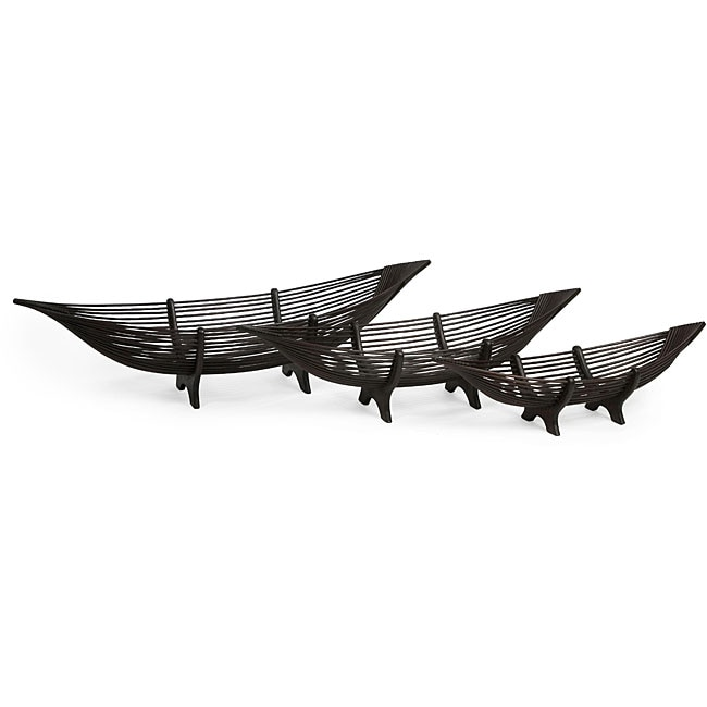 Set of 3 Bamboo Ningbo Islander Skiff Bowls