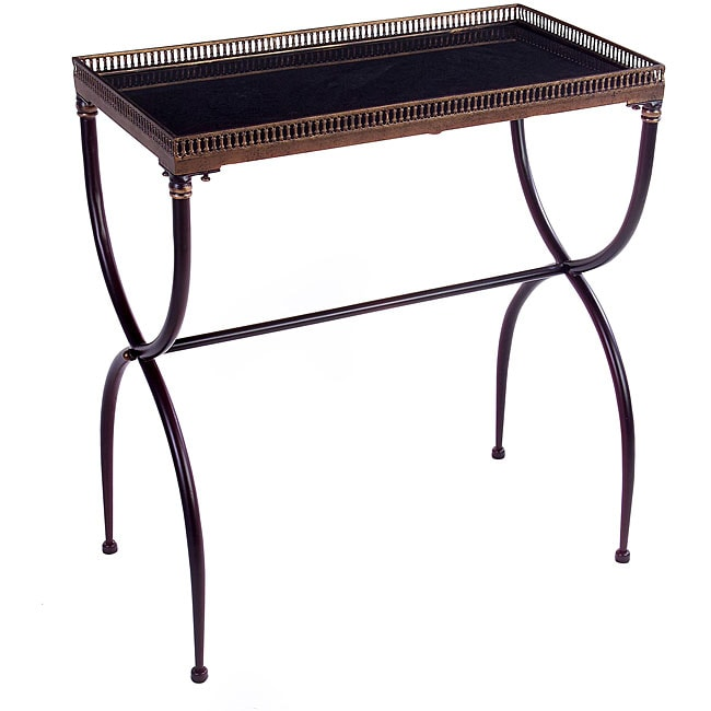 Argento Rectangular Black X-Leg Accent Table