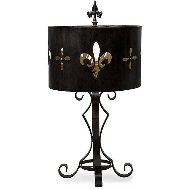 Cast Iron Fleur De Lis Cutout Table Lamp