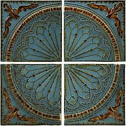 Set of 4 Iron Venice Royal Blue Viscounte Medallion Wall Panels - Thumbnail 0