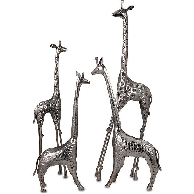 Set of 4 Argento Giraffes At Play Sculptures