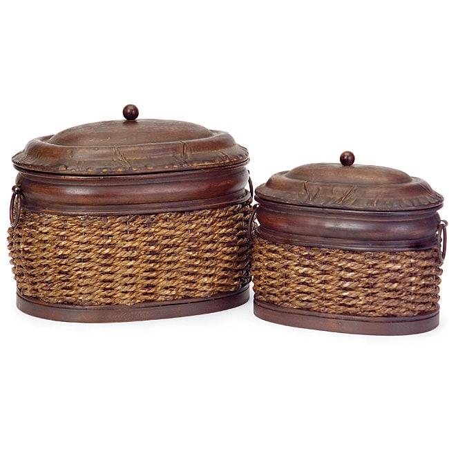 Rattan and Iron Delhi Nesting Boxes