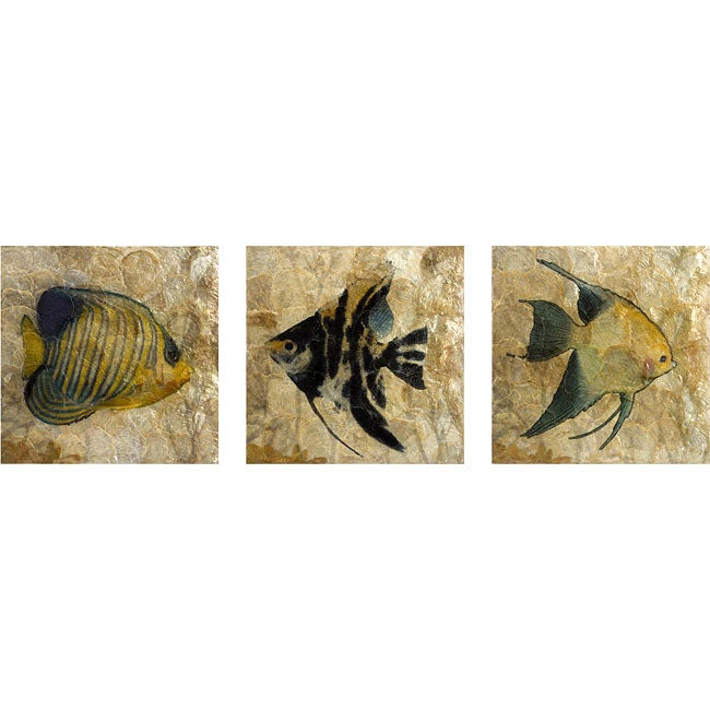 set of 3 atlantis fish wall art free shipping today. Black Bedroom Furniture Sets. Home Design Ideas
