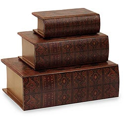 Set of 3 Venice Imperial Court Wooden Book Boxes