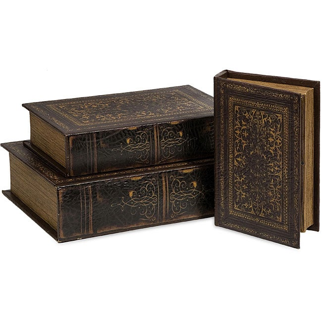 Renaissance 3-piece Book Box Collection, Brown (Leather)