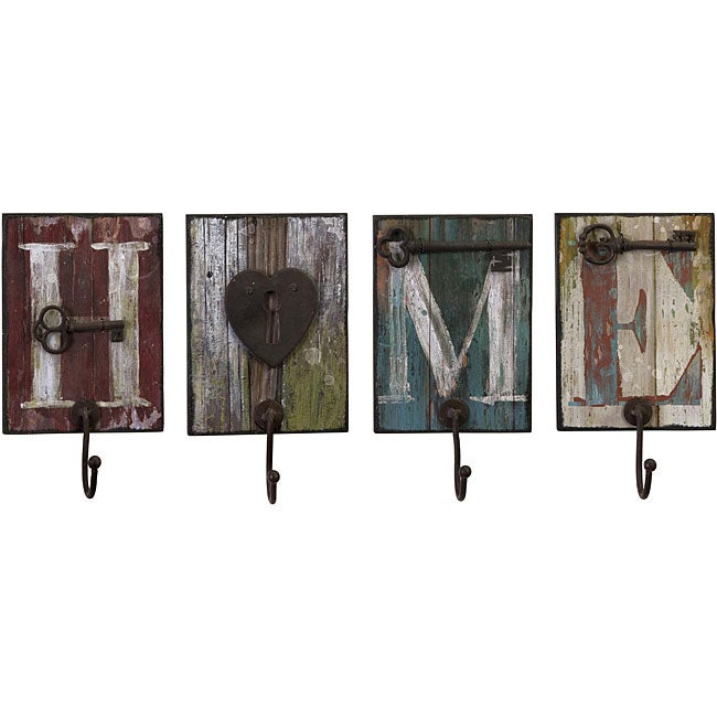 Set of 4 iron country home and hearth wall hangers free for Country home and hearth