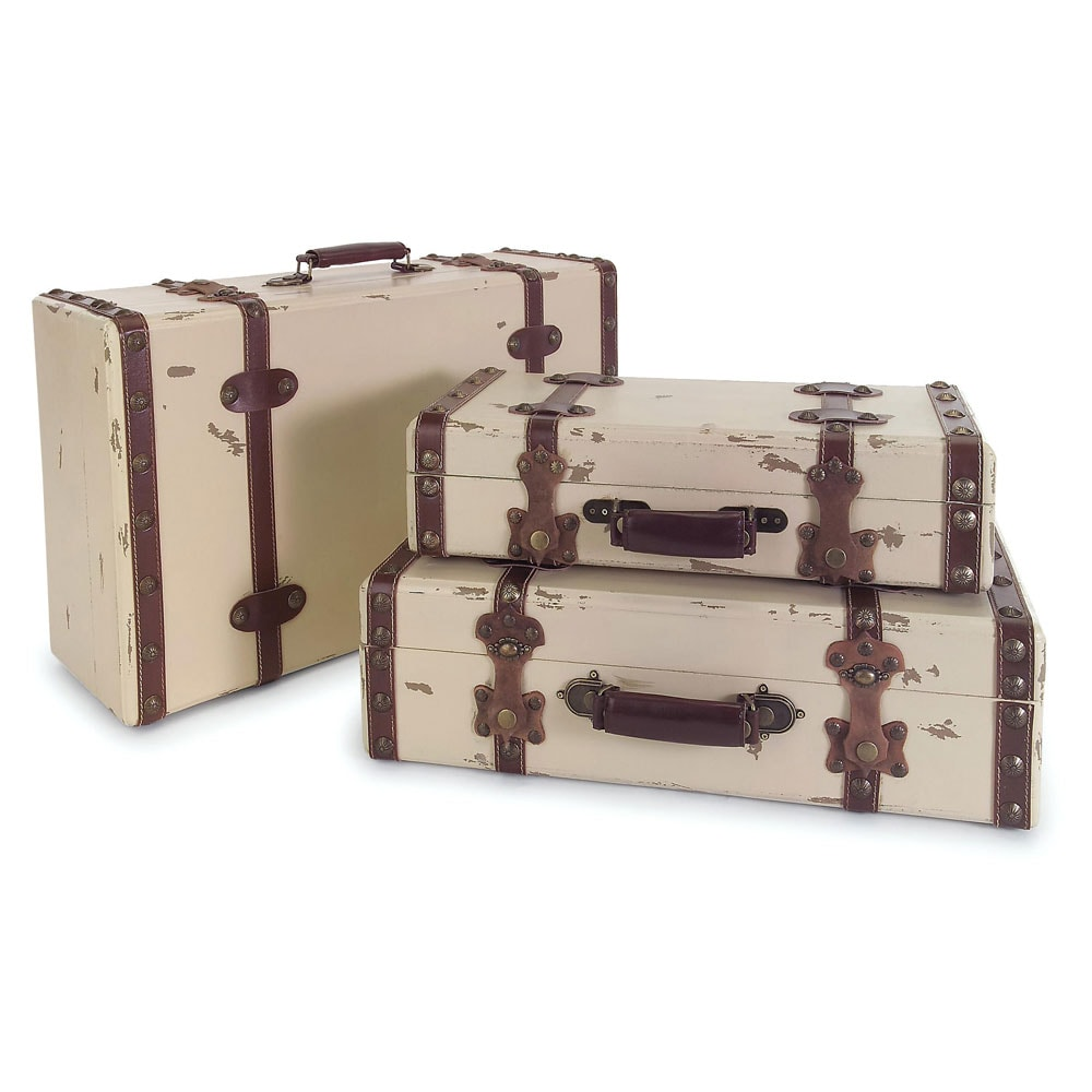 Regent Vintage Ivory Suitcases (Set of 3) - Free Shipping Today ...