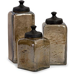Set of 3 Smokey Hammered Glass Portofino Square Canisters