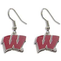 NCAA Wisconsin Badgers Dangle Logo Earrings