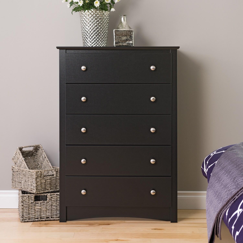 Prepac Sonoma Five-drawer Chest (Black - Black Finish), S...