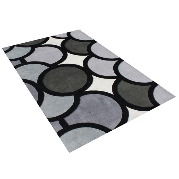 Alliyah Handmade Grey New Zealand Blend Wool Rug (5' x 8') - 5' x 8'