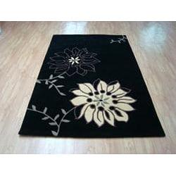 Hand-tufted Metro Flower Black/ Beige Wool Rug (8' x 10')