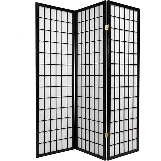 Oriental Shoji 3-panel Black Room Divider Screen - Thumbnail 0