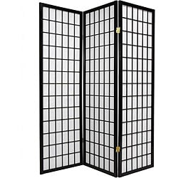 Oriental Shoji 3 Panel Black Room Divider Screen