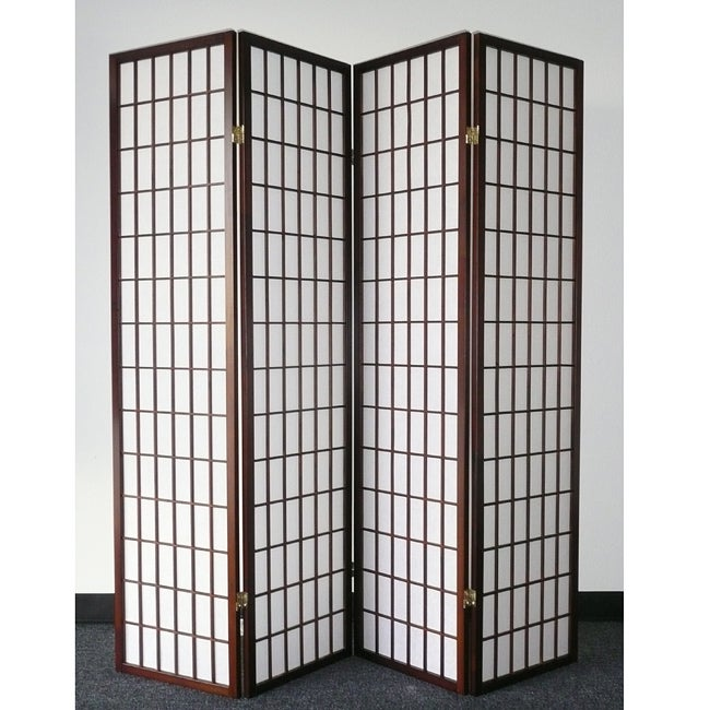 Oriental Shoji 4-panel Cappuccino Room Divider Screen - Thumbnail 0