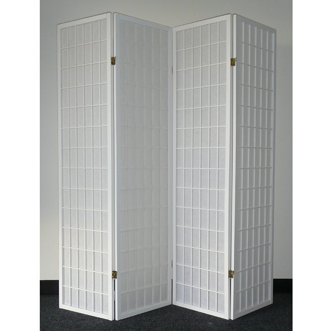 Oriental Shoji 4-panel White Room Divider Screen - Thumbnail 0