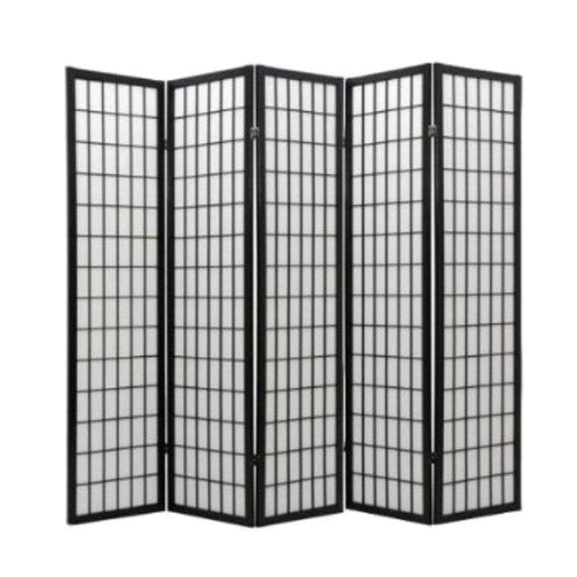 Oriental Shoji Black 5-panel Room Divider Screen