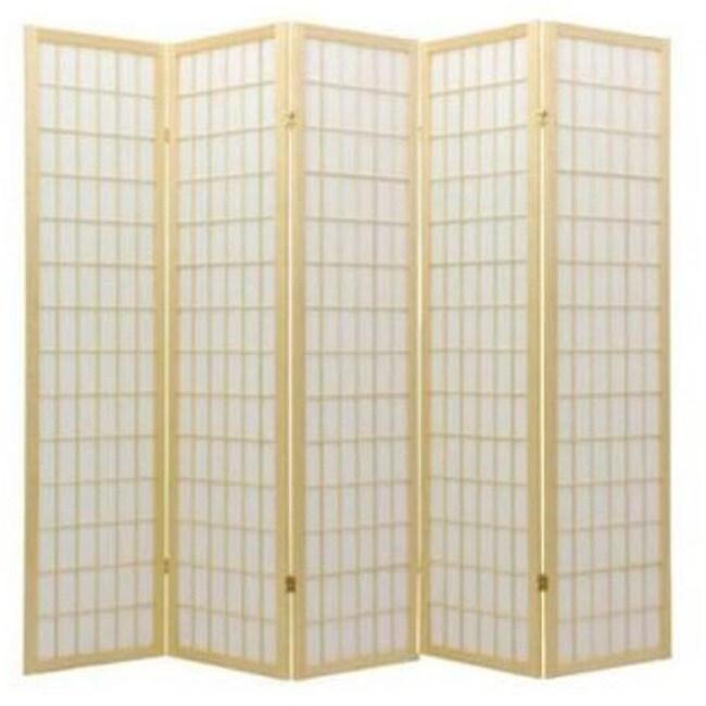 Oriental Shoji 5-panel Natural Room Divider Screen
