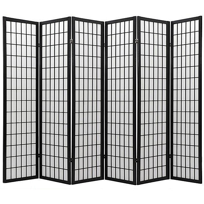 Oriental Shoji 6-panel Black Room Divider Screen