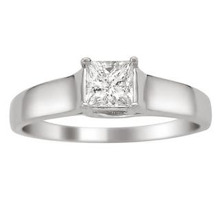 montebello 14k white gold 14ct tdw certified princess cut diamond ring - White Gold Princess Cut Wedding Rings