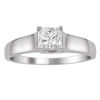 montebello 14k white gold 14ct tdw certified princess cut diamond ring - Princess Wedding Rings