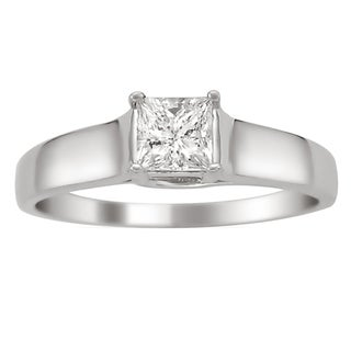 Montebello 14k White Gold 1/4ct TDW Certified Princess Cut Diamond Ring