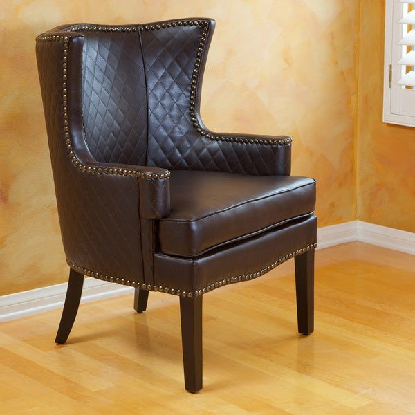 Roma Brown Quilted Bonded Leather Arm Chair by Christopher Knight Home