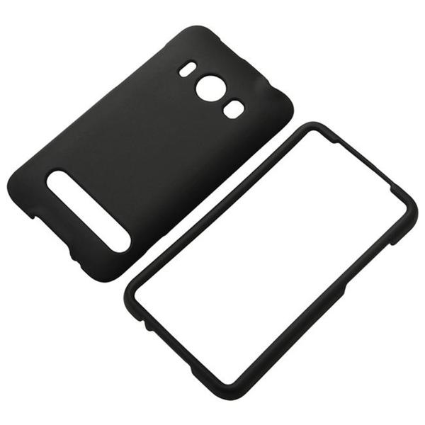 INSTEN Snap-On Rubber-Coated Black Phone Case Cover for HTC EVO 4G